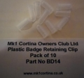 BD14 - Plastic badge retaining clips (pack of 10)